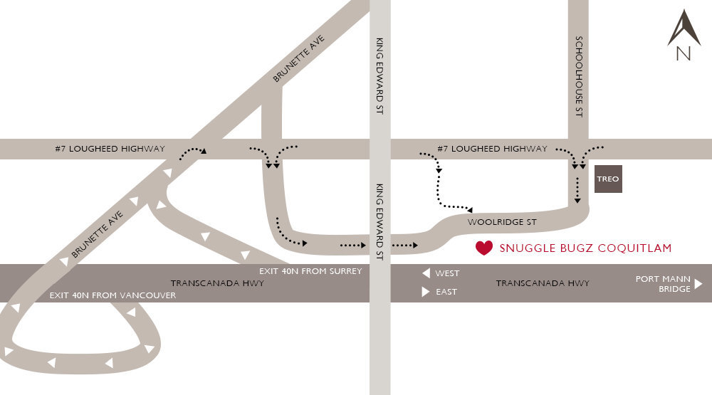 Map of Snuggle Bugz Baby Store in Coquitlam BC