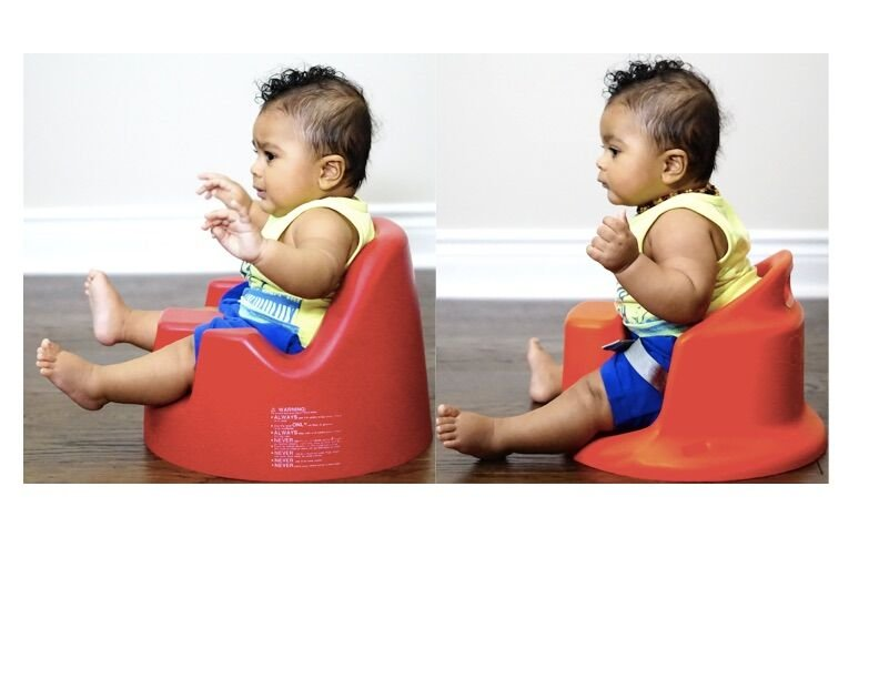 Side by side photo comparing child in other baby chair vs The UpSeat