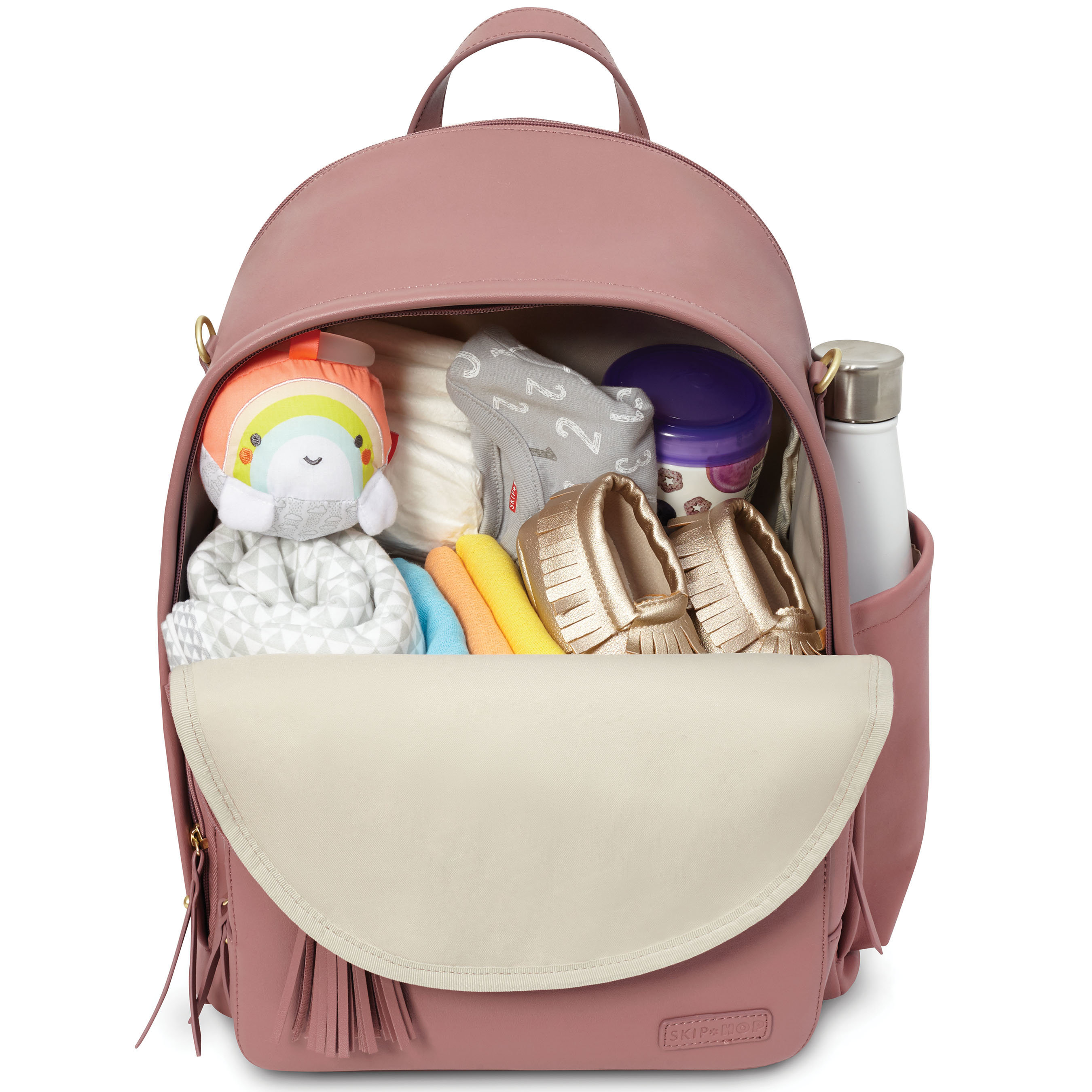 Skip Hop Greenwich Diaper Bag Backpack in Dusty Rose filled with diaper bag essentials.