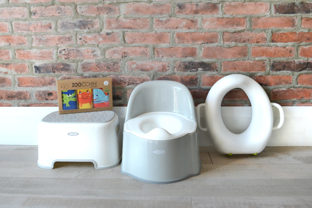 Potty Training Essentials - OXO TOT step stool, potty chair, sit right potty seat and Zoocchini training pants