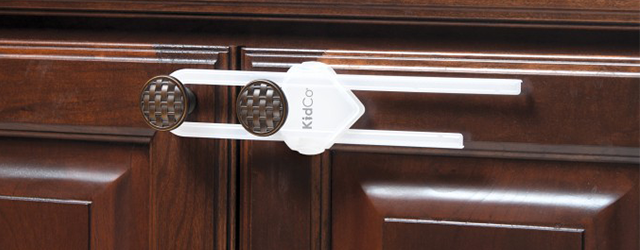 Kidco cabinet locks on wooden doors for babyproofing