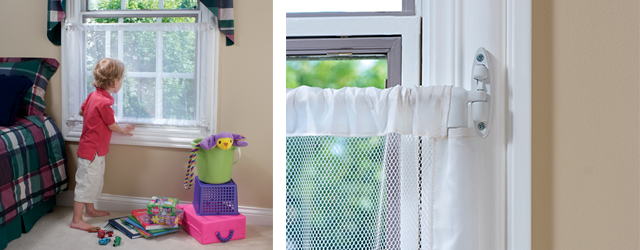 Boy looking out his bedroom window with Kidco window guard installed for safety