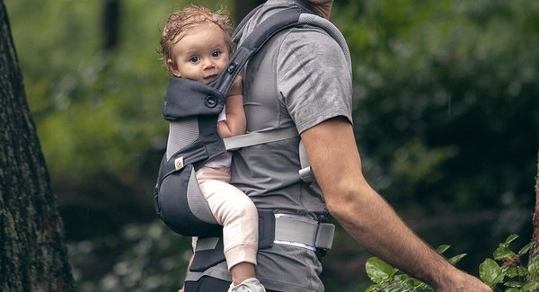 Father with Baby Girl in ERGObaby Four Position 360 Cool Mesh Carrier