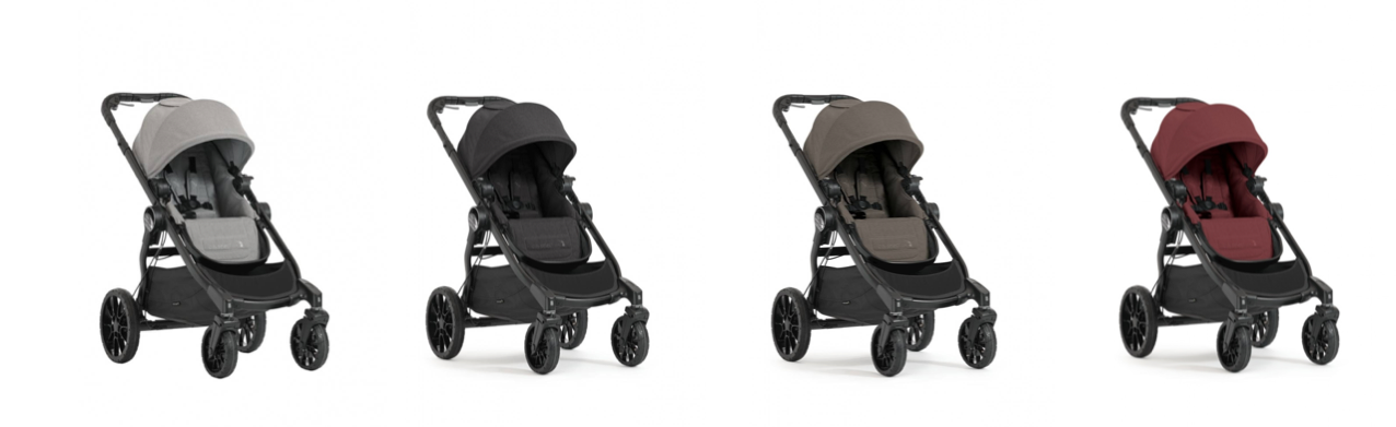 Baby Jogger City Select LUX Stroller in Slate, Granite, Taupe and Port colourways