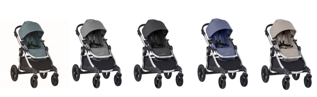 Baby Jogger City Select Stroller shown in Lagoon, Slate, Jet, Moonlight and Paloma colourways