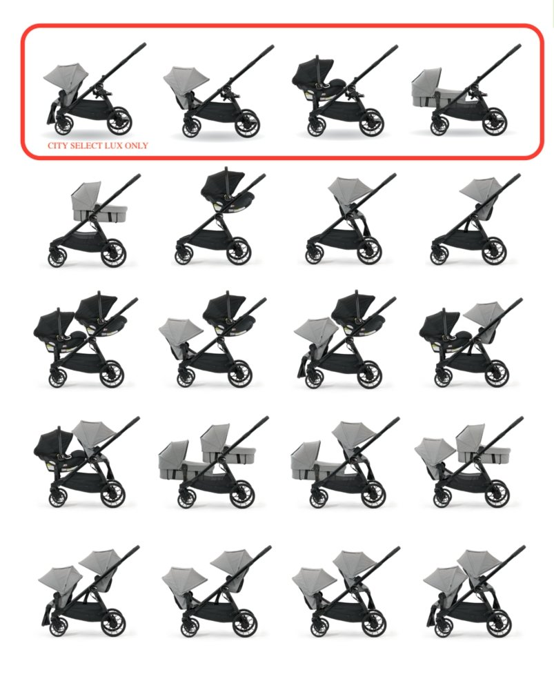 Baby Jogger City Select and City Select LUX Strollers folding configurations