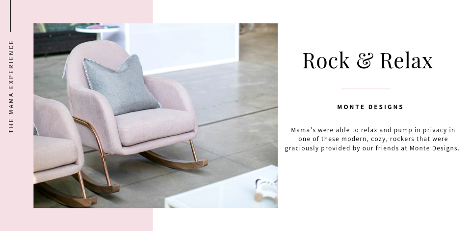 Rocking loungers from Monte Designs in Blush with Rose Gold & Walnut accents