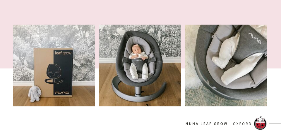 Baby sitting in the Nuna Leaf Grow baby swing in oxford