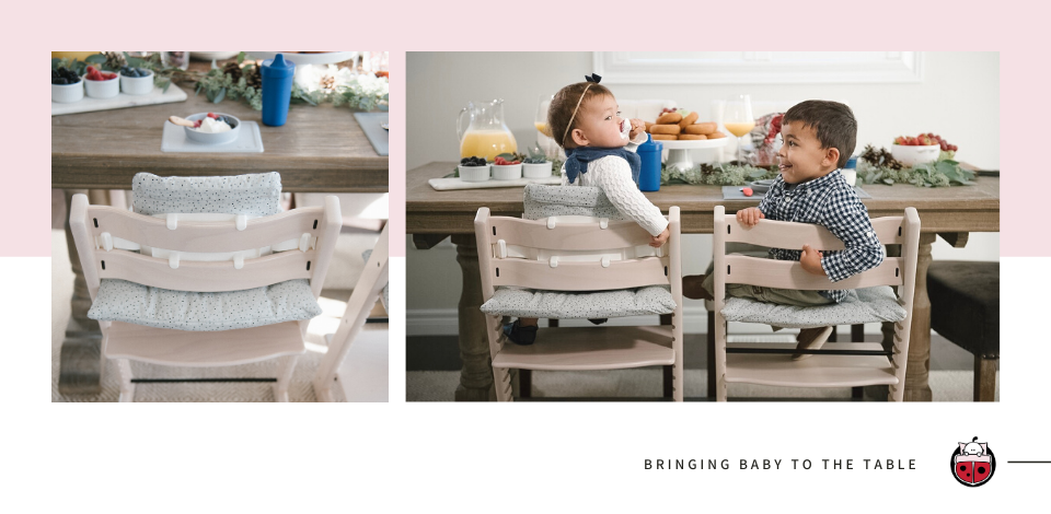 Young boy and girl sitting at dinning table in Stokke Tripp Trapp Complete High Chair in whitewash finish, only available at Snuggle Bugz.