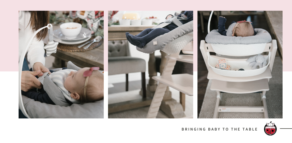 Newborn baby in Stokke Tripp Trapp high chair using Stokke Newborn Set