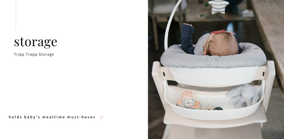 Back view of baby in Stokke Tripp Trapp Highchair with Storage Attachment
