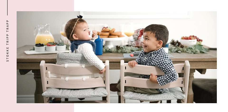 a baby and toddler sitting at the table in different variations of the Stokke Tripp Trapp