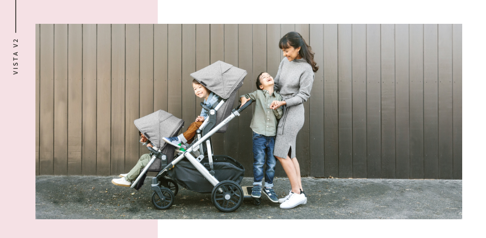 UPPAbaby Vista V2 in Jordan shown with additional RumbleSeat