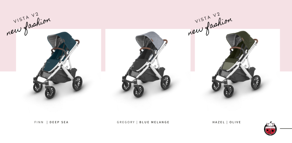 UPPAbaby Vista V2 shown in Finn, Gregory & Hazel