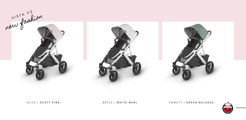 UPPAbaby Vista V2 shown in Alice, Bryce & Emmett