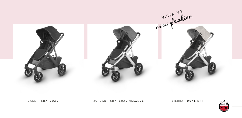 UPPAbaby Vista V2 shown in Jake, Jordan & Sierra