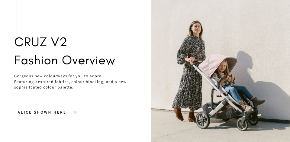 Woman pushing a toddler in an UPPAbaby CRUZ V2 stroller in Alice fashion