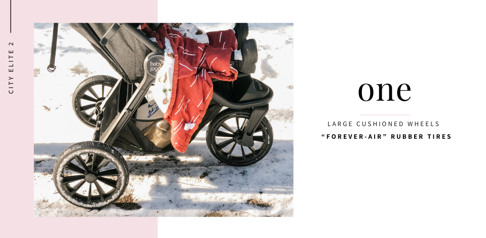 Baby Jogger City Elite 2 stroller wheels taking on the snow