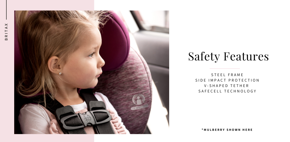 Une fillette de 3 ans regarde par la fenêtre d'un véhicule alors qu'elle est attachée en toute sécurité à son siège auto Britax Grow With You Harness-2-Booster à Mulberry