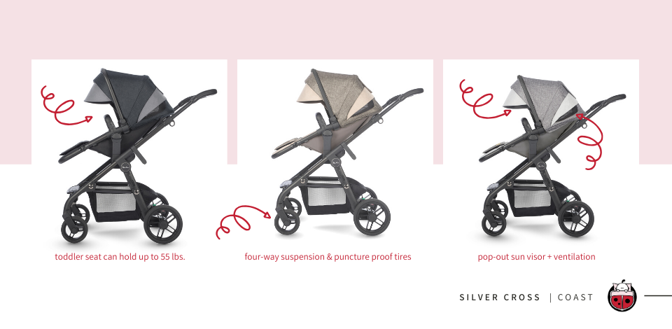 Silver Cross Coast Stroller Details and Recline