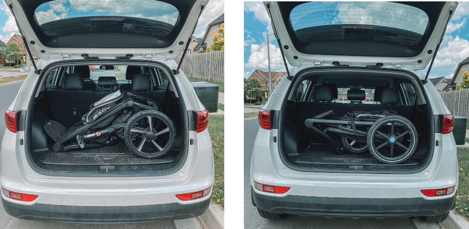 running stroller in trunk of suv BOB and Thule