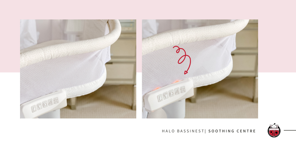 Halo BassiNest Soothing Centre in use at bedside
