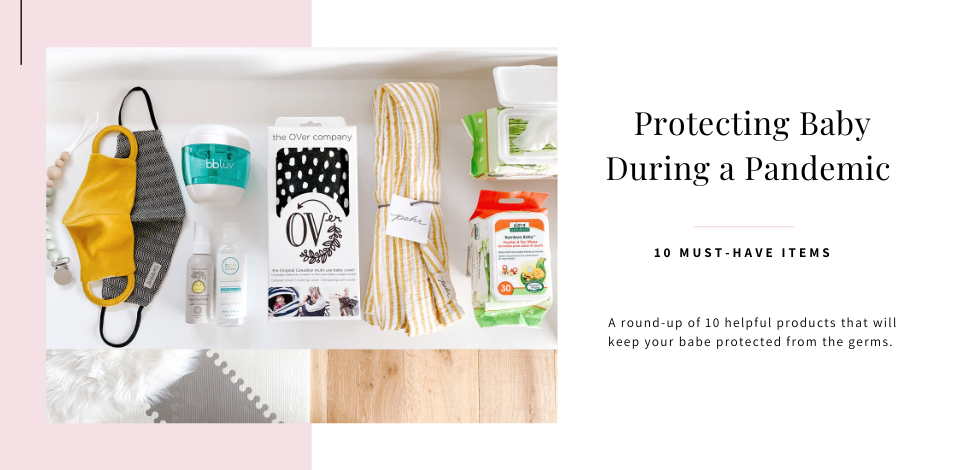 a flat lay of baby products to help keep germs away
