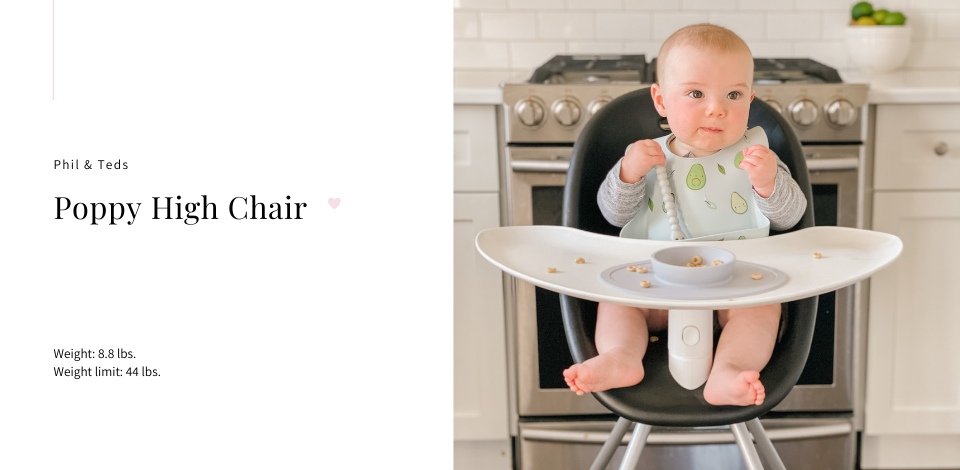 baby sitting in Phil & Teds Poppy high chair