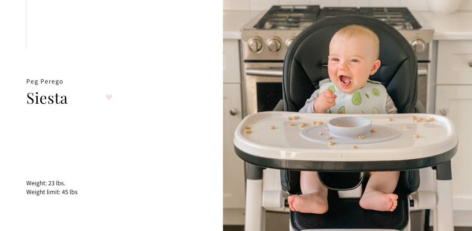 baby smiling in Peg Perego Siesta High Chair in white kitchen