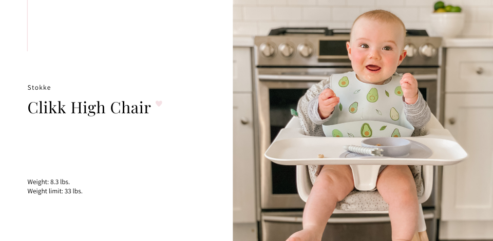 baby sitting in Stokke Clikk white high chair with sprinkle cushion