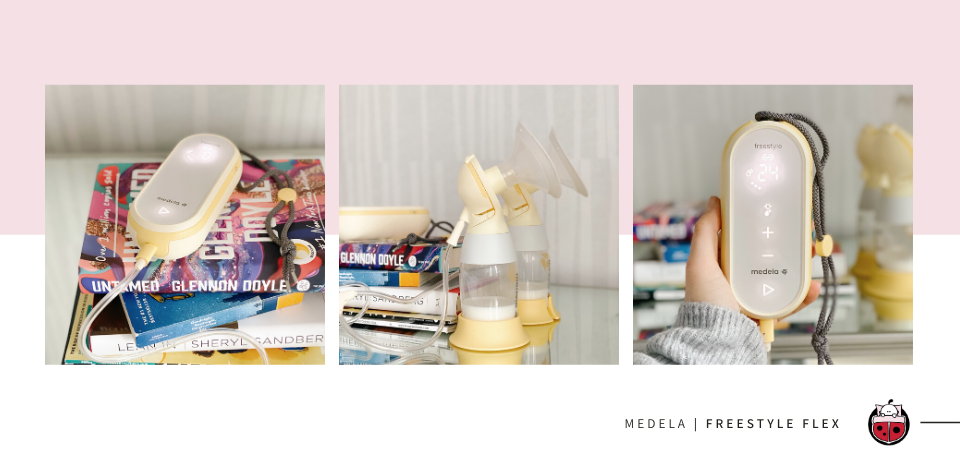 Medela Freestyle Flex Breast Pump on nightstand and a pile of books