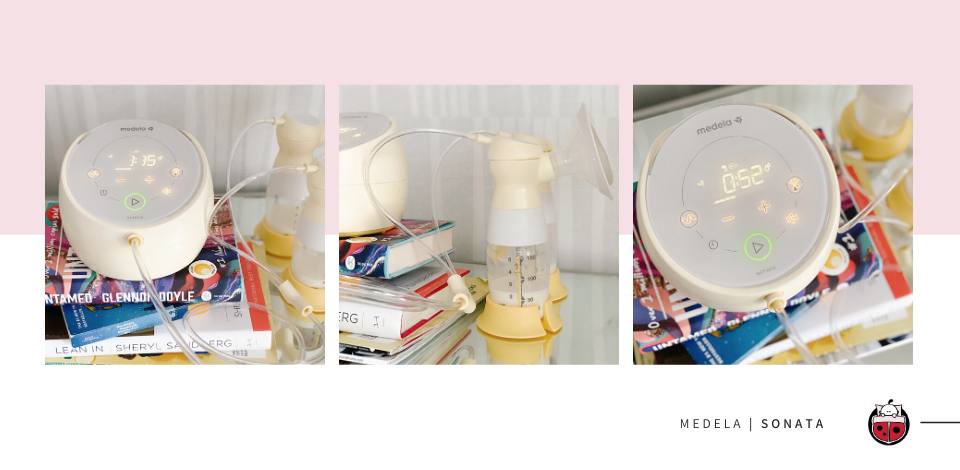 Medela Sonata Breast Pump on night stand and with stack of books