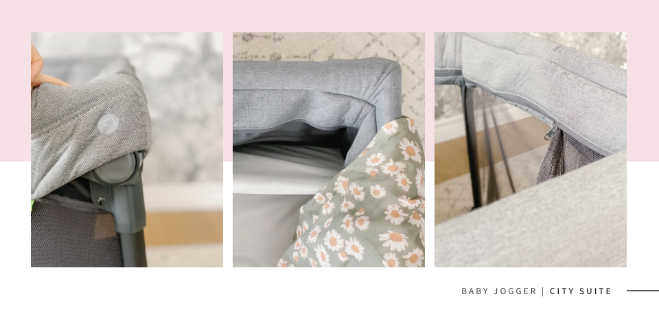 Baby Jogger City Suite Playard shown in 3 different angles
