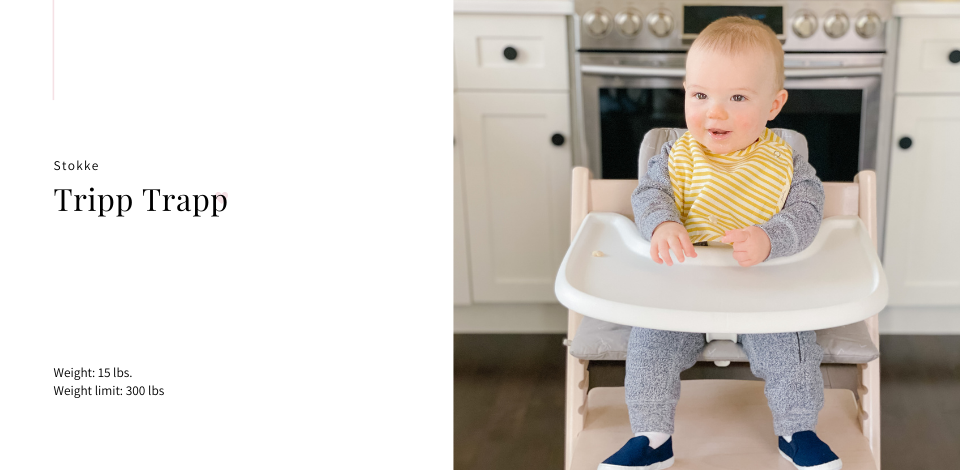 Stokke Tripp Trapp in white wash with an icon grey cushion