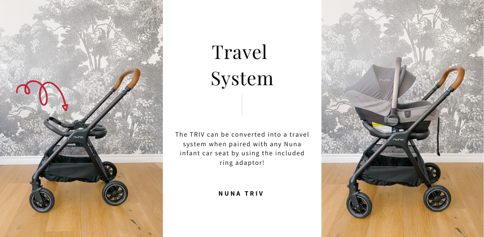 Nuna TRIV as a travel system with Nuna PIPA infant car seat on top of ring adapter