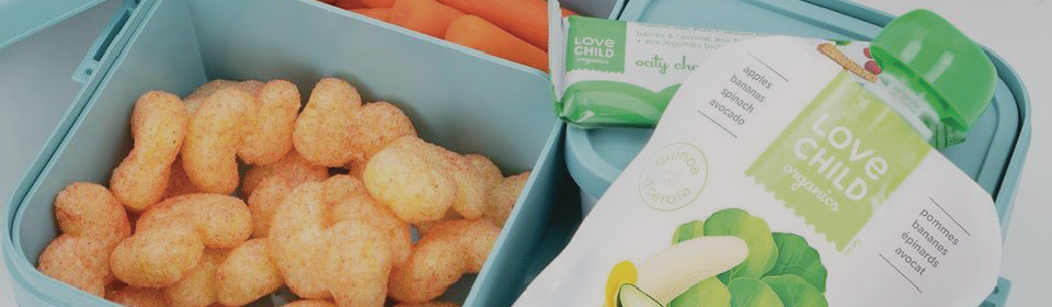 lunch box filled with love child organics puree and snacks