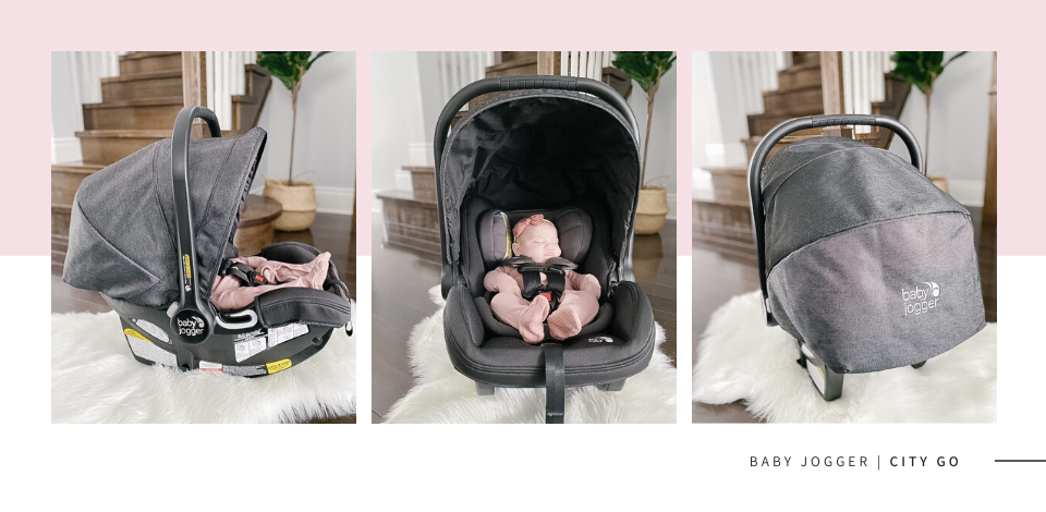 baby girl in a Baby Jogger City GO infant car seat with the canopy fully up