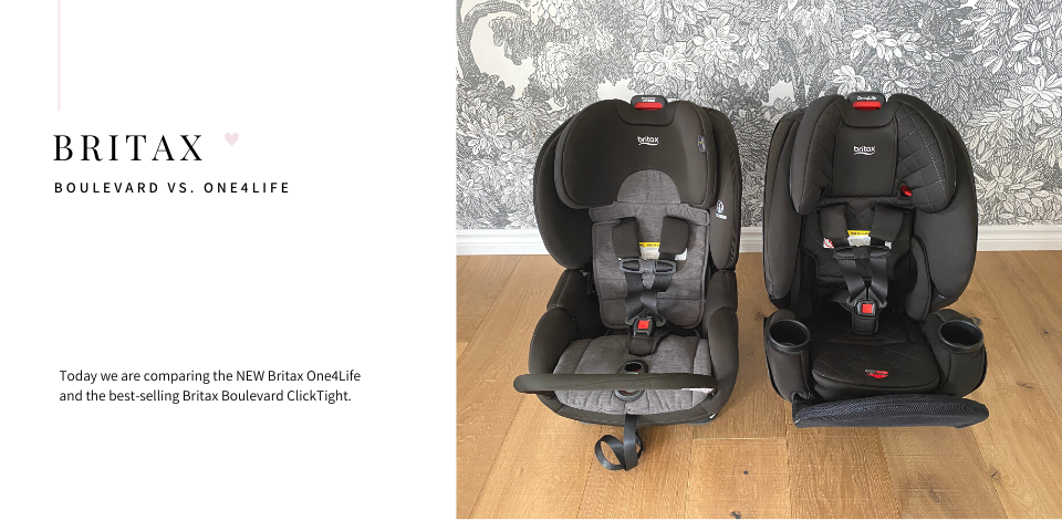 Britax Boulevard car seat in Stainless next to the Britax One4Life in Black Diamond