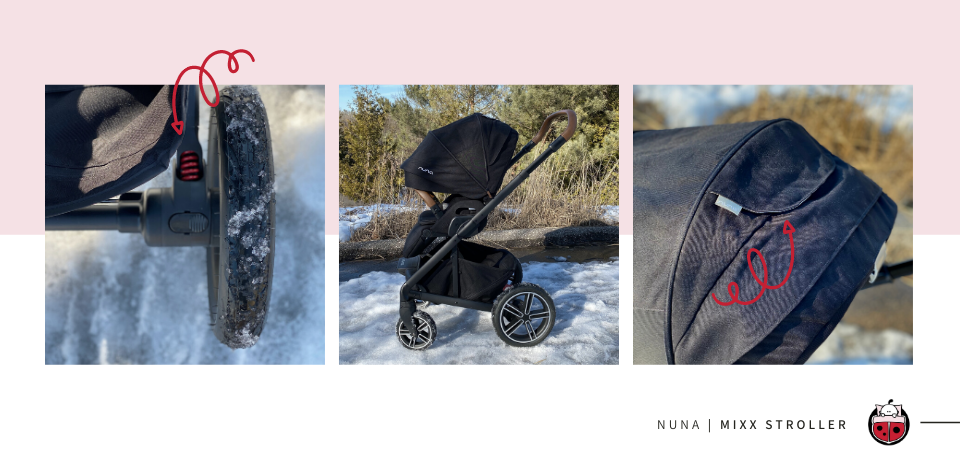Nuna MIXX stroller details showcasing the foam filled wheels and canopy