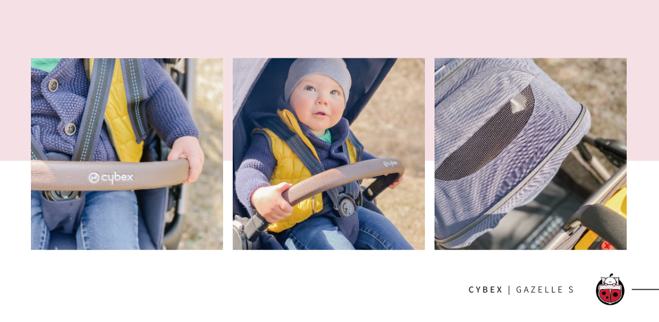 toddler riding in the Cybex Gazelle S stroller and holding on to the leatherette bumper bar