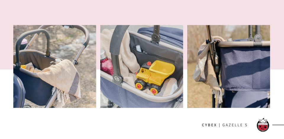 Cybex Gazelle S shopping basket filled with toys and a blanket