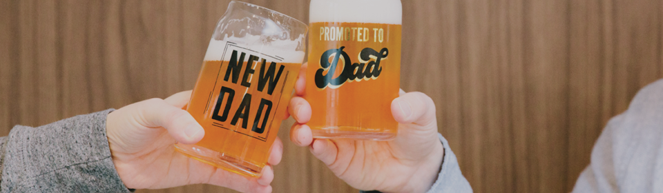 Two dads cheering Pearhead New Dad and Promoted To Dad beer mugs
