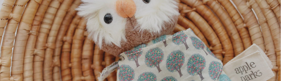 Apple Park owl teether rattle laying on basket
