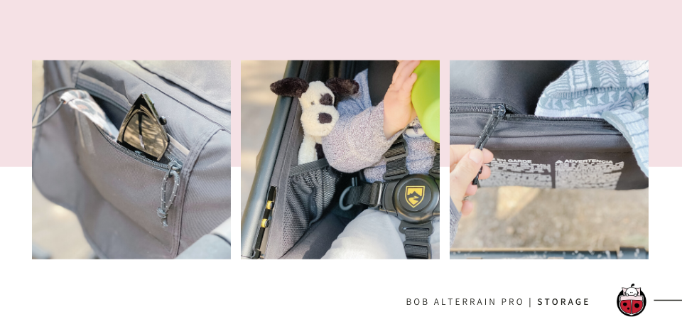 BOB Alterrain PRO storage including interior pockets and a spot for your phone