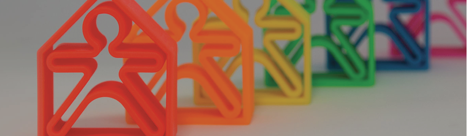Rainbow Dena silicone toys standing on table