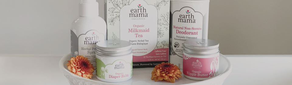 Earth Mama Organics products sitting on tray in bathroom