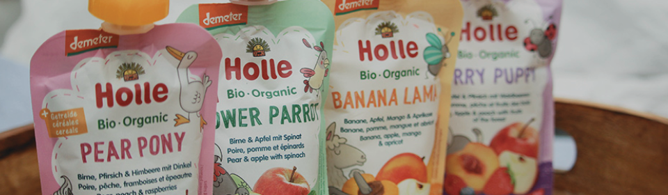 HOLLE puree food pouches on kitchen counter
