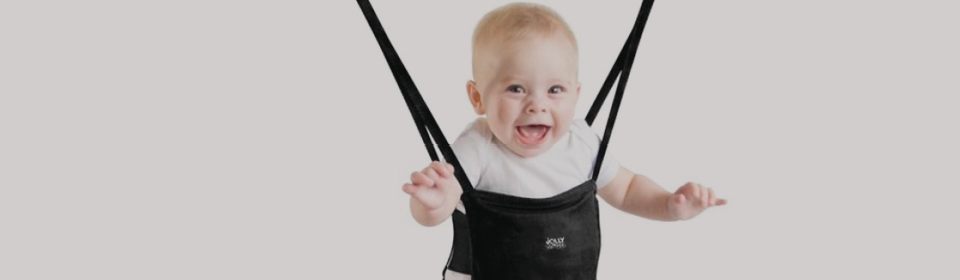 Baby bouncing on a Jolly Jumper