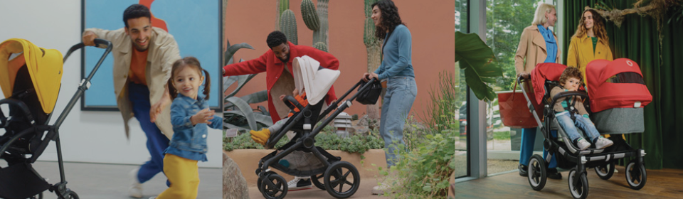 Parents pushing Bugaboo Fox2, Donkey3 and Bee6 stroller