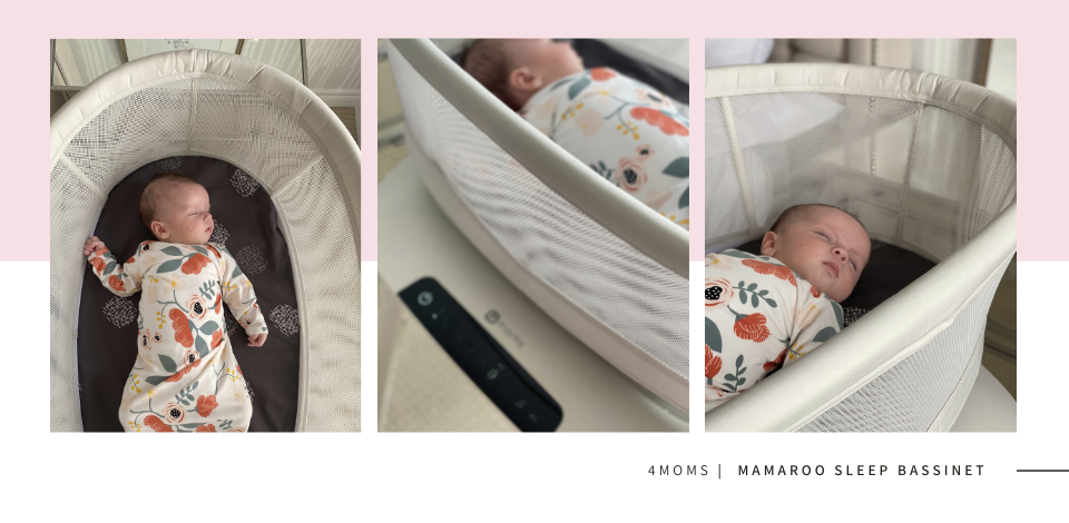 baby sleeping in 4moms mamaRoo sleep bassinet wearing a floral OVer Company Nodo Gown